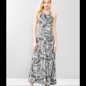 GAP Gray & White Leaf Print Tie Waist Maxi Dress
